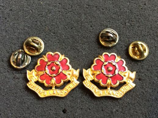 Queens Lancashire Regiment Officers Collar badges