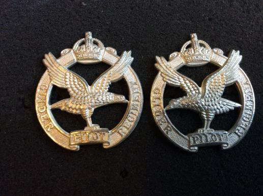 K/C Glider Pilot Regiment Officers frosted silver collar badges